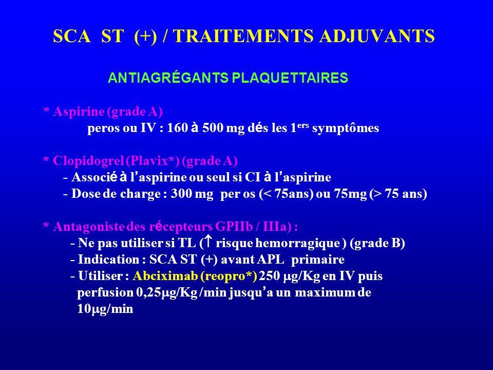 SCA ST (+) / TRAITEMENTS ADJUVANTS