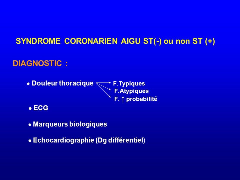 SYNDROME CORONARIEN AIGU ST(-) ou non ST (+) DIAGNOSTIC :  Douleur thoracique F.Typiques F.Atypiques F.