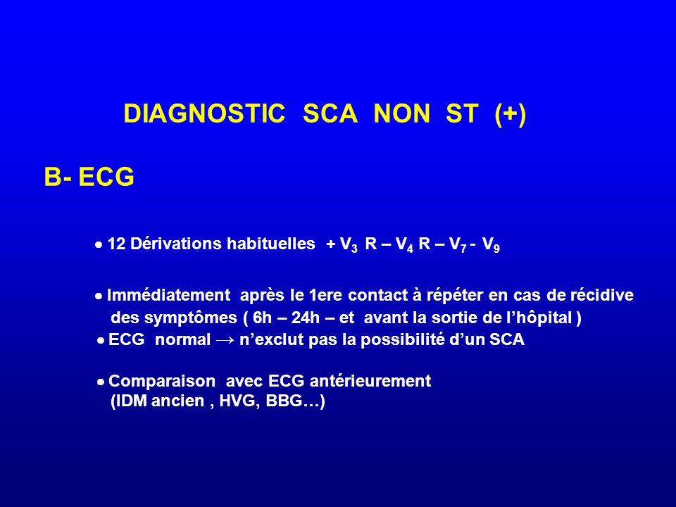 DIAGNOSTIC SCA NON ST (+) B- ECG  12 Dérivations habituelles + V3 R – V4 R – V7 - V9  Immédiatement après le 1ere contact à répéter en cas de récidive des symptômes ( 6h – 24h – et avant la sortie de l'hôpital )  ECG normal → n'exclut pas la possibilité d'un SCA  Comparaison avec ECG antérieurement (IDM ancien , HVG, BBG…)