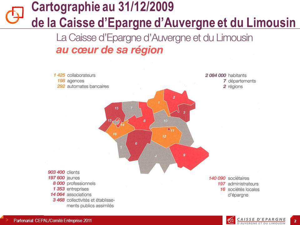 Cartographie au 31/12/2009 de la Caisse d'Epargne d'Auvergne et du Limousin