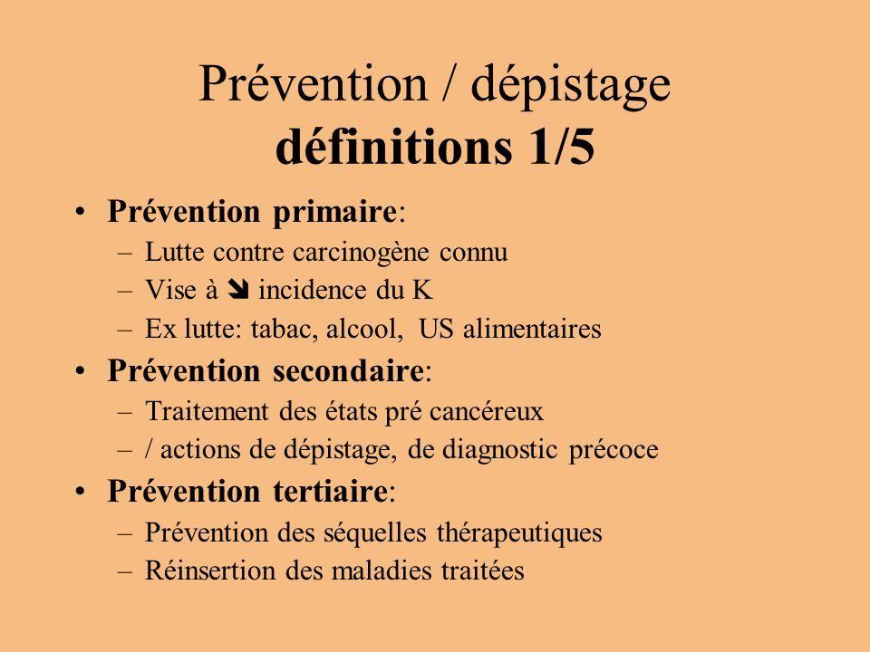 Prévention / dépistage définitions 1/5