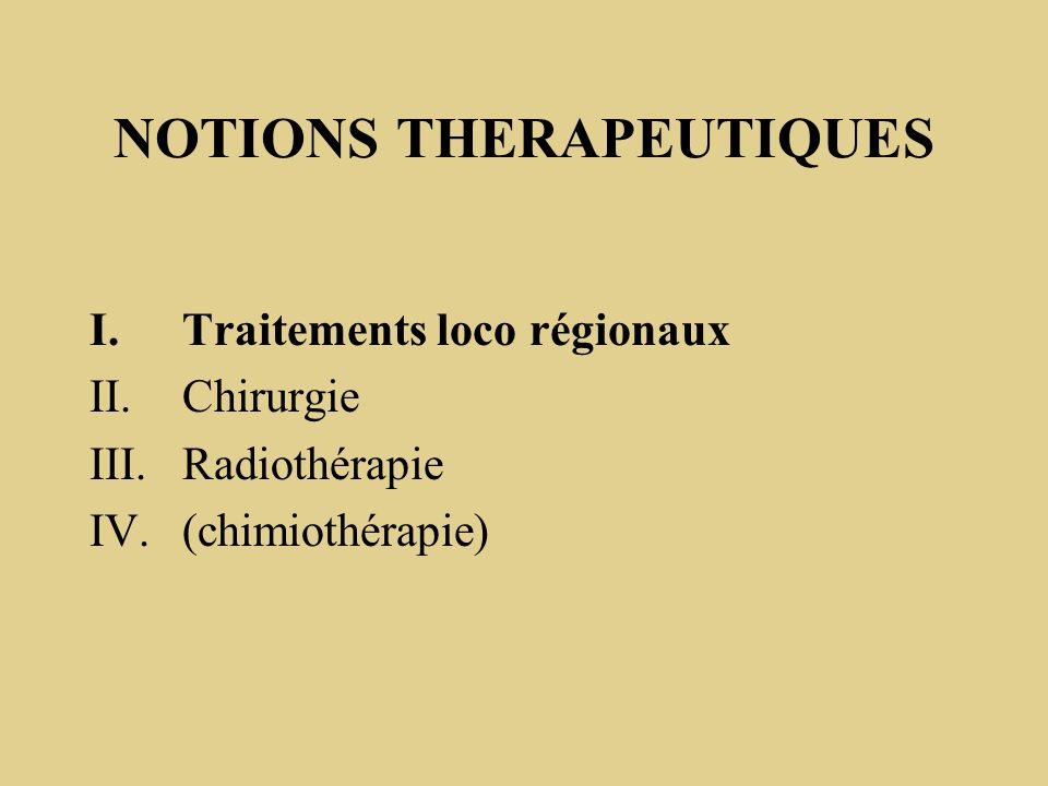 NOTIONS THERAPEUTIQUES