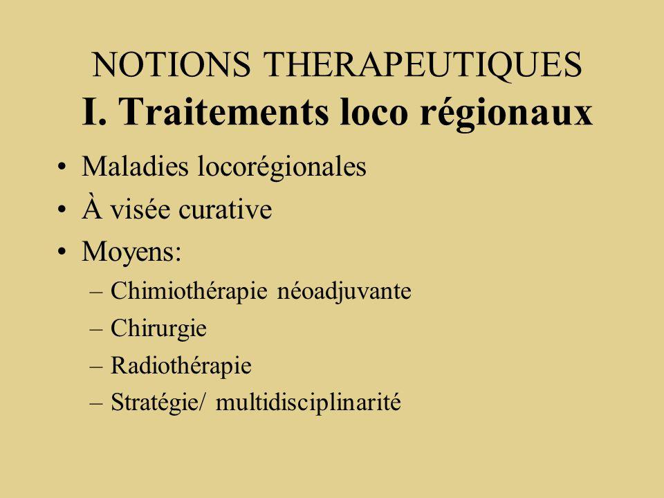 NOTIONS THERAPEUTIQUES I. Traitements loco régionaux