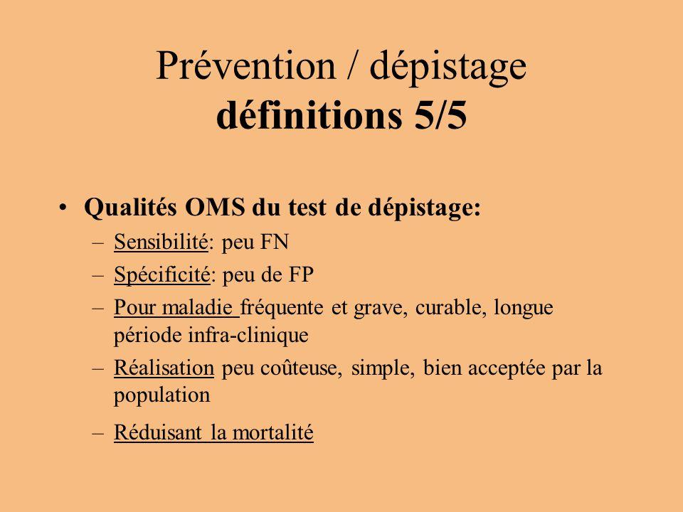 Prévention / dépistage définitions 5/5