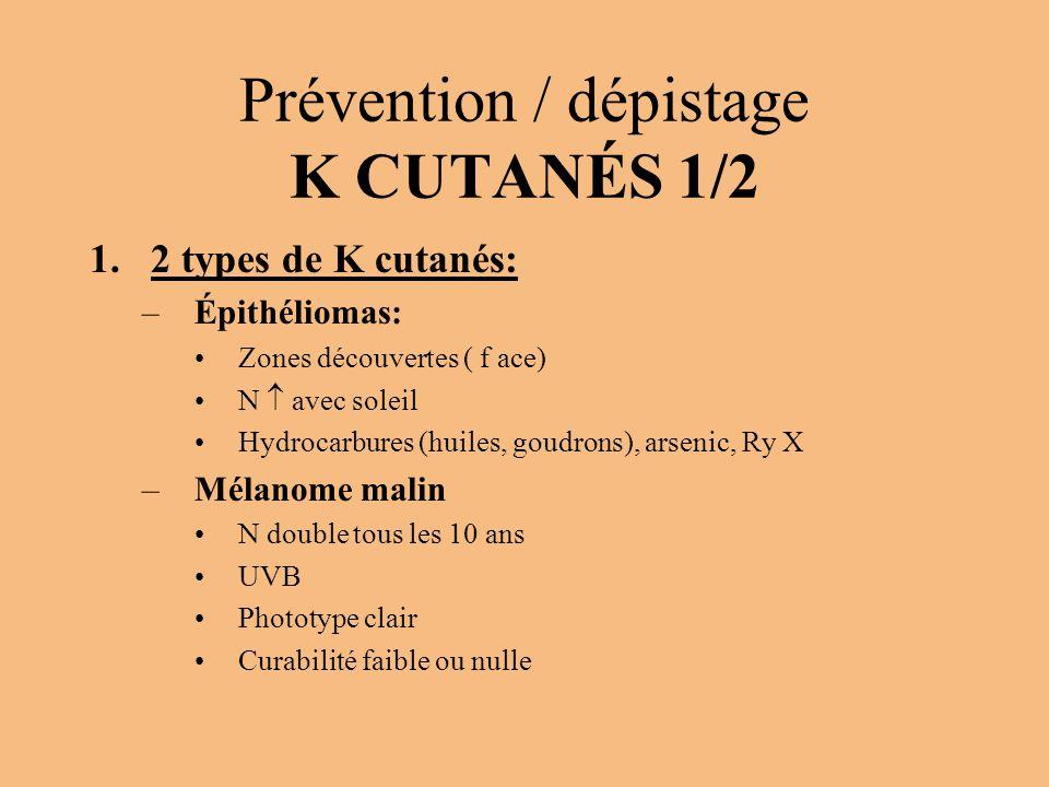 Prévention / dépistage K CUTANÉS 1/2