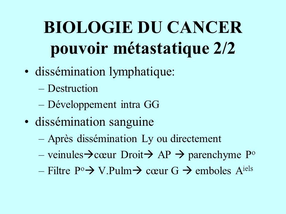 BIOLOGIE DU CANCER pouvoir métastatique 2/2