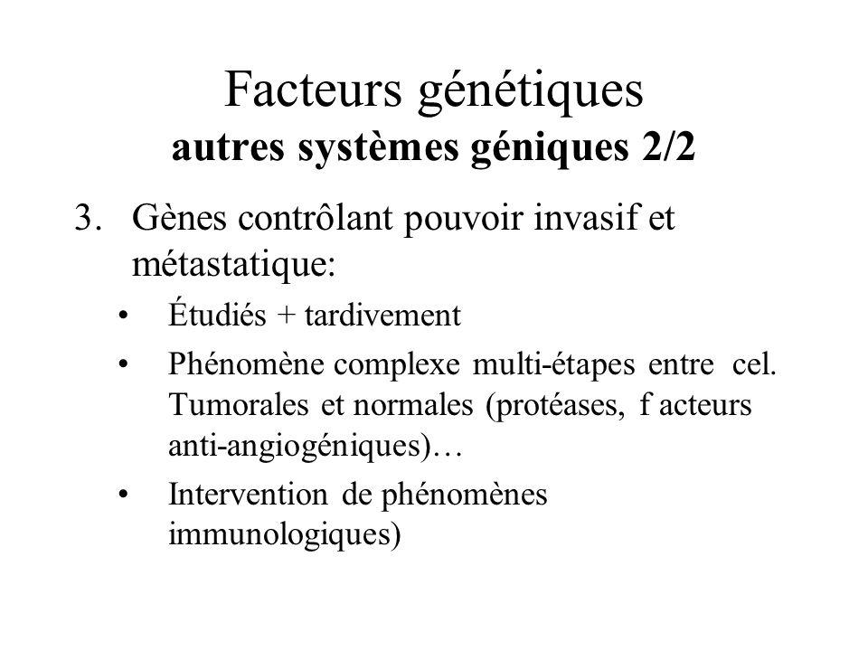 Facteurs génétiques autres systèmes géniques 2/2