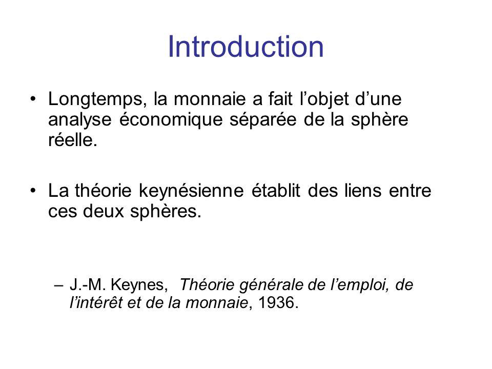 Introduction Longtemps, la monnaie a fait l'objet d'une analyse économique séparée de la sphère réelle.