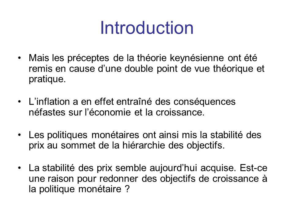 Introduction Mais les préceptes de la théorie keynésienne ont été remis en cause d'une double point de vue théorique et pratique.