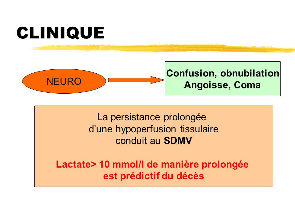 Confusion, obnubilation Lactate> 10 mmol/l de manière prolongée