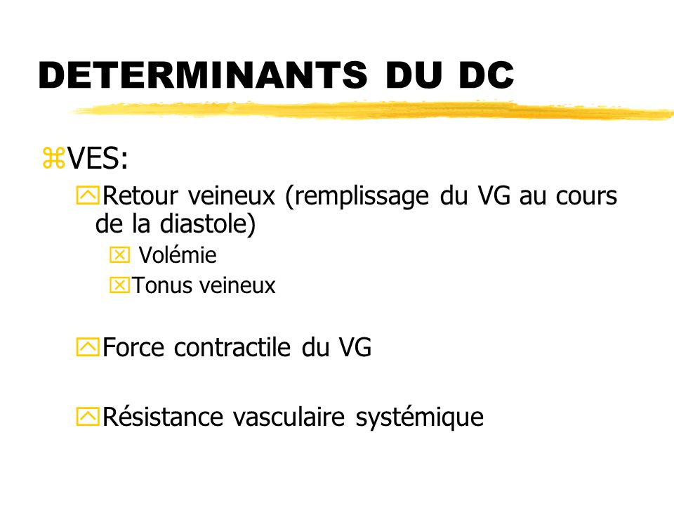 DETERMINANTS DU DC VES: