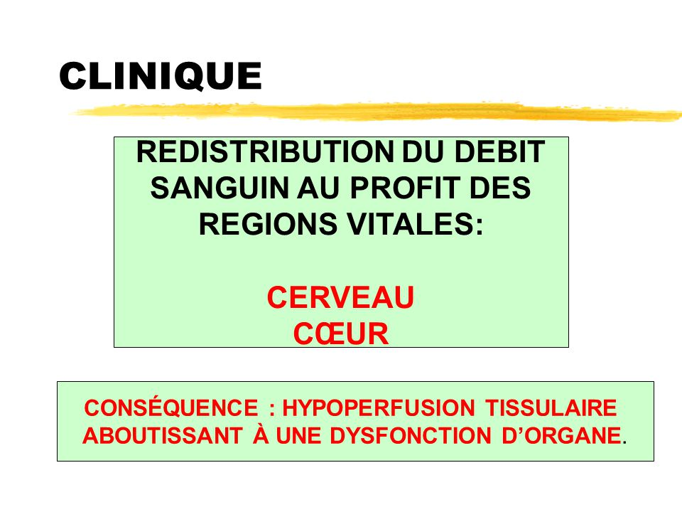 REDISTRIBUTION DU DEBIT CONSÉQUENCE : HYPOPERFUSION TISSULAIRE