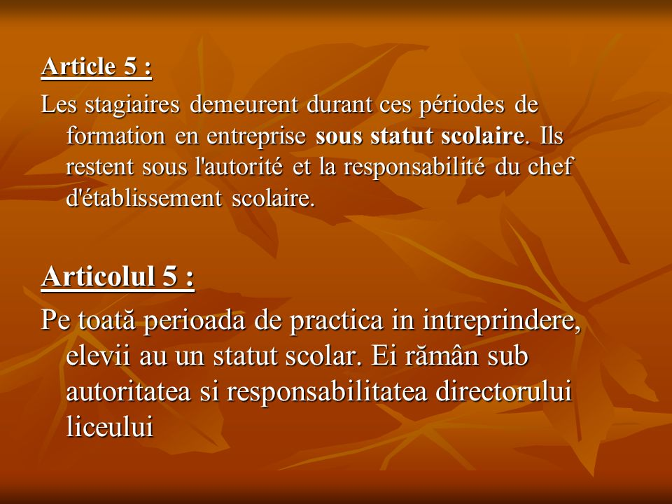 Article 5 :