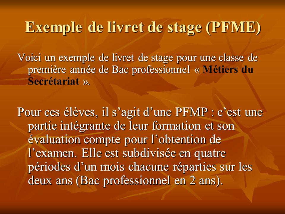 Exemple de livret de stage (PFME)