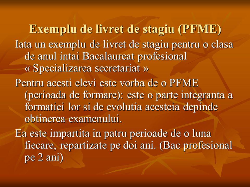 Exemplu de livret de stagiu (PFME)