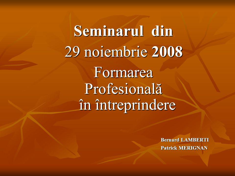 Seminarul din 29 noiembrie 2008 Formarea Profesională în întreprindere