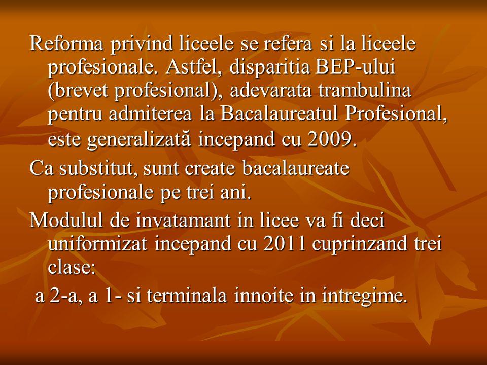 Reforma privind liceele se refera si la liceele profesionale