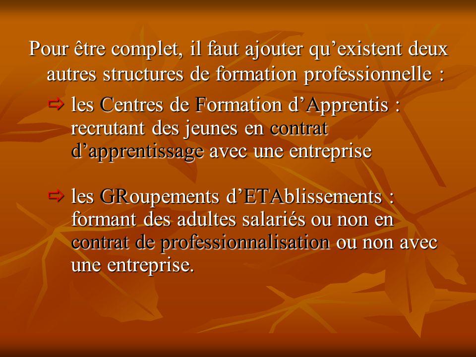 Pour être complet, il faut ajouter qu'existent deux autres structures de formation professionnelle :