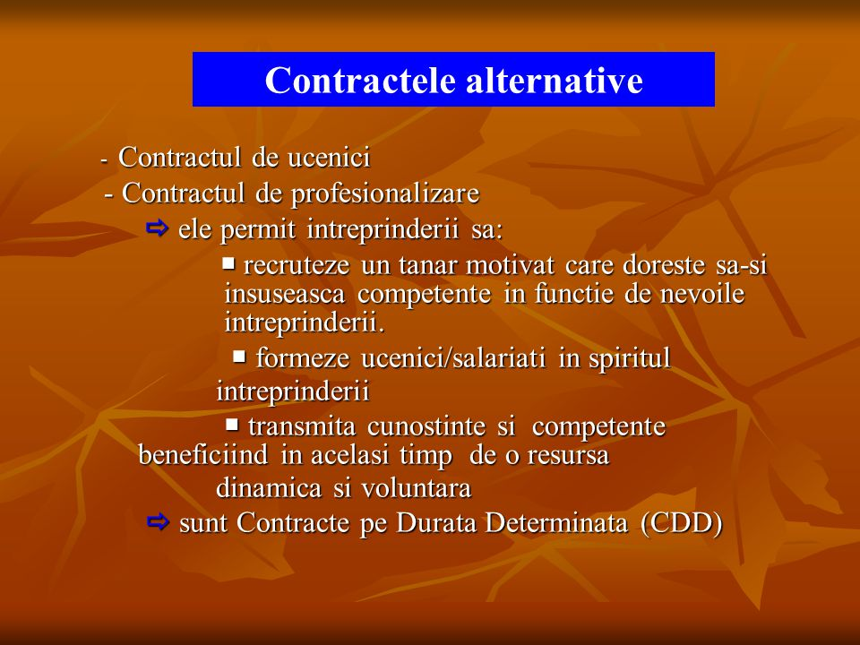 Contractele alternative