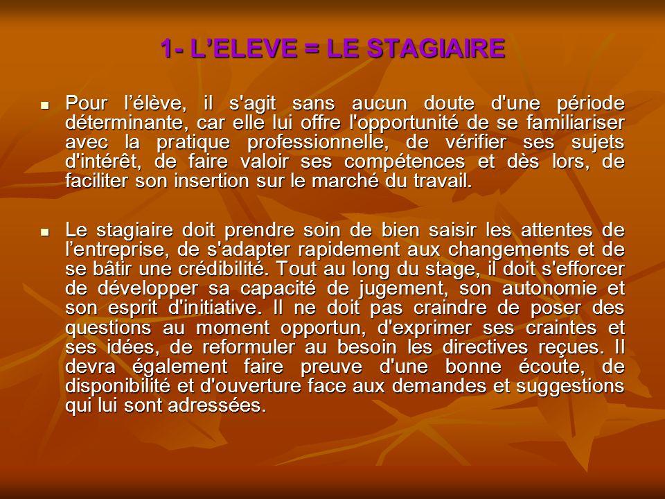 1- L'ELEVE = LE STAGIAIRE