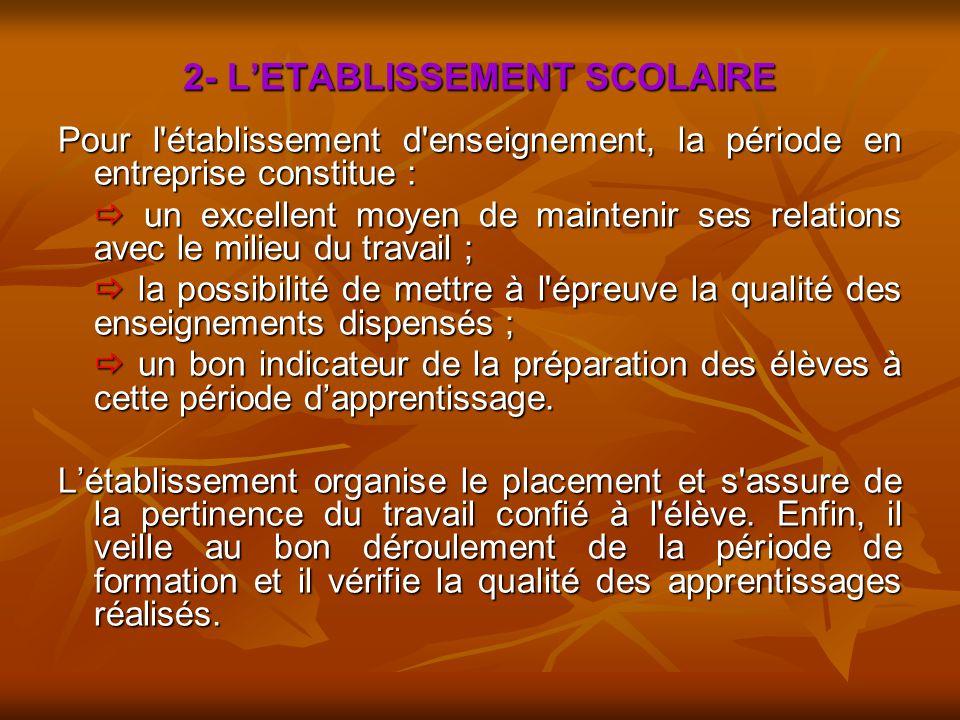2- L'ETABLISSEMENT SCOLAIRE