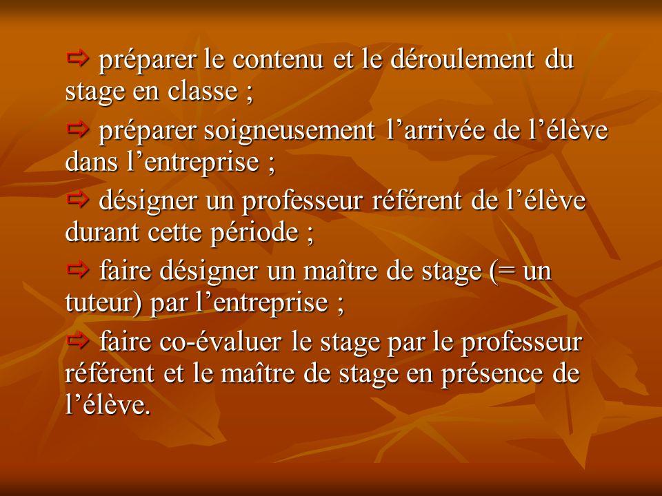  préparer le contenu et le déroulement du stage en classe ;