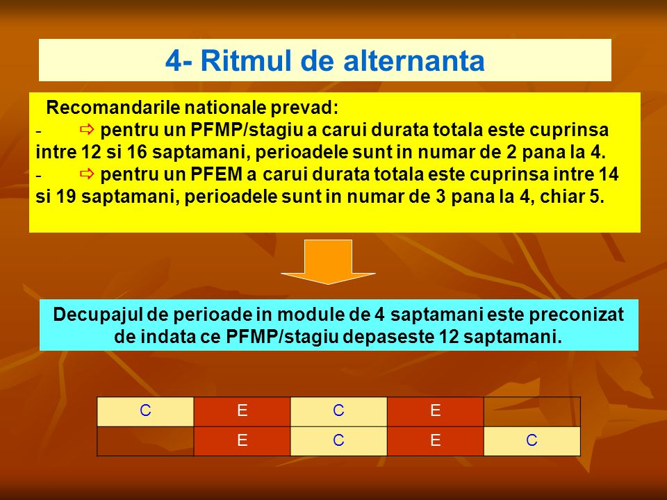 4- Ritmul de alternanta Recomandarile nationale prevad: