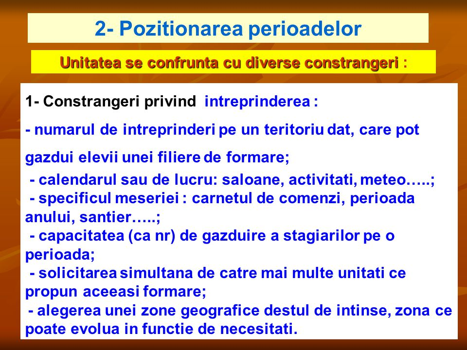 2- Pozitionarea perioadelor