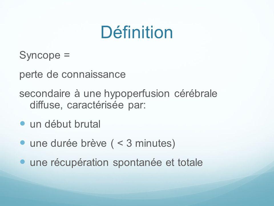 Définition Syncope = perte de connaissance