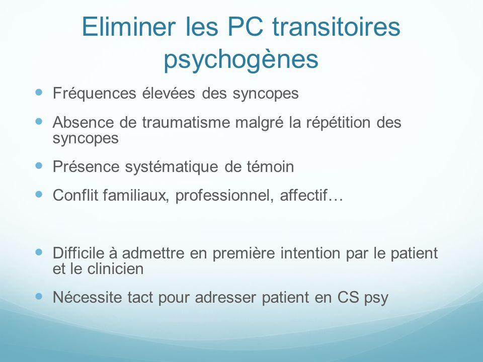 Eliminer les PC transitoires psychogènes