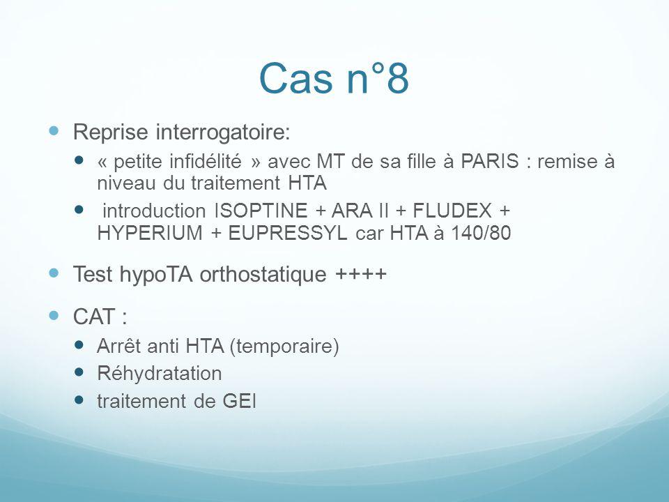 Cas n°8 Reprise interrogatoire: Test hypoTA orthostatique ++++ CAT :