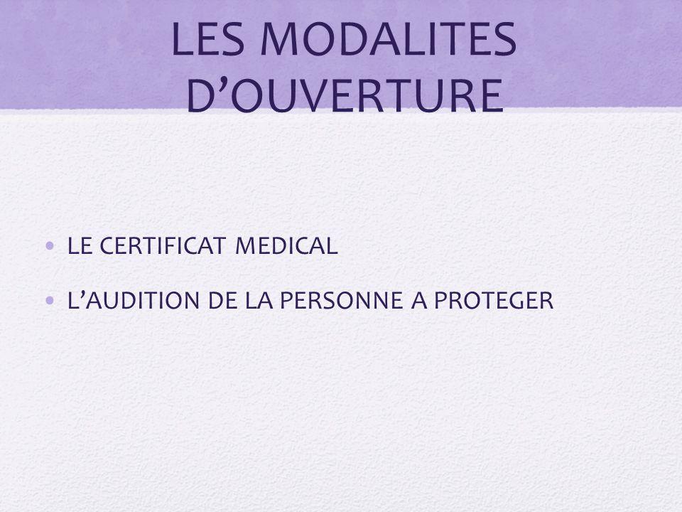 LES MODALITES D'OUVERTURE