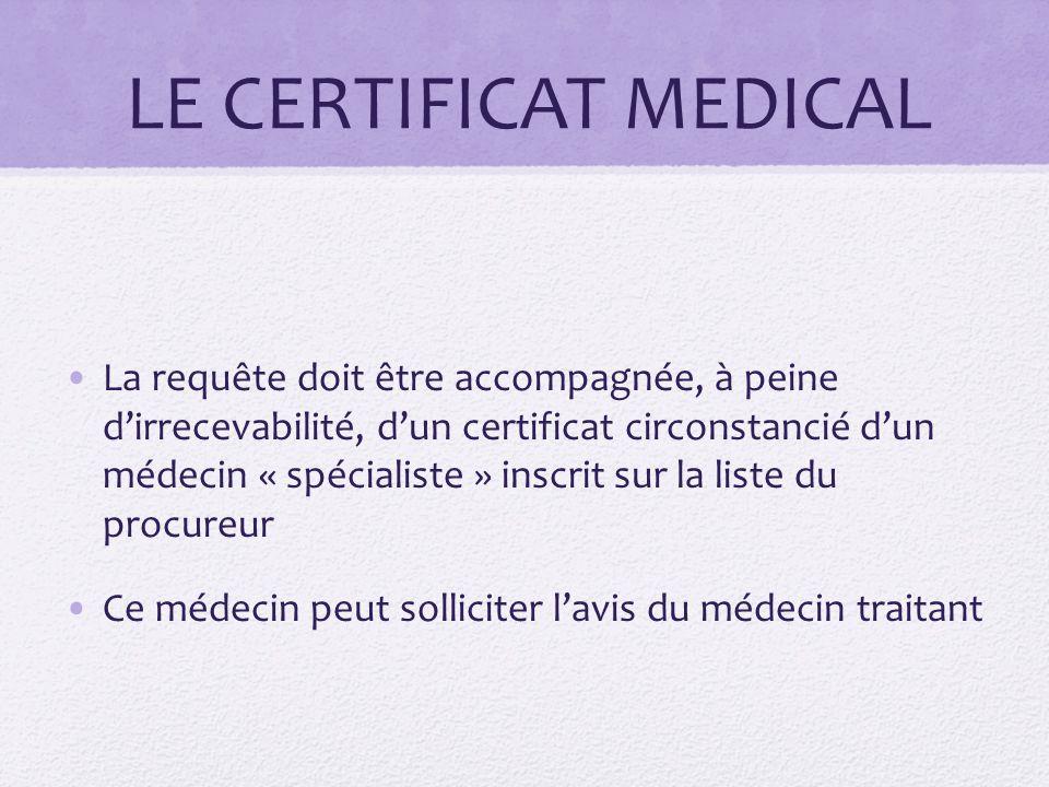 LE CERTIFICAT MEDICAL