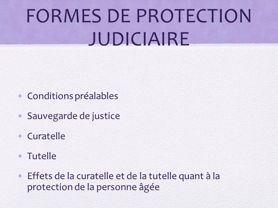 FORMES DE PROTECTION JUDICIAIRE