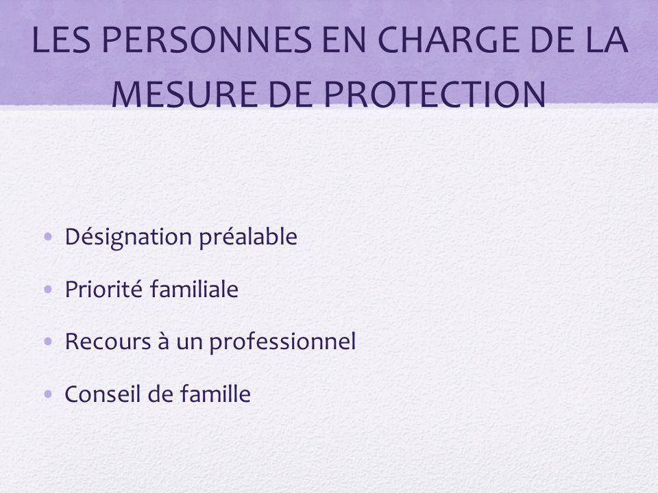 LES PERSONNES EN CHARGE DE LA MESURE DE PROTECTION