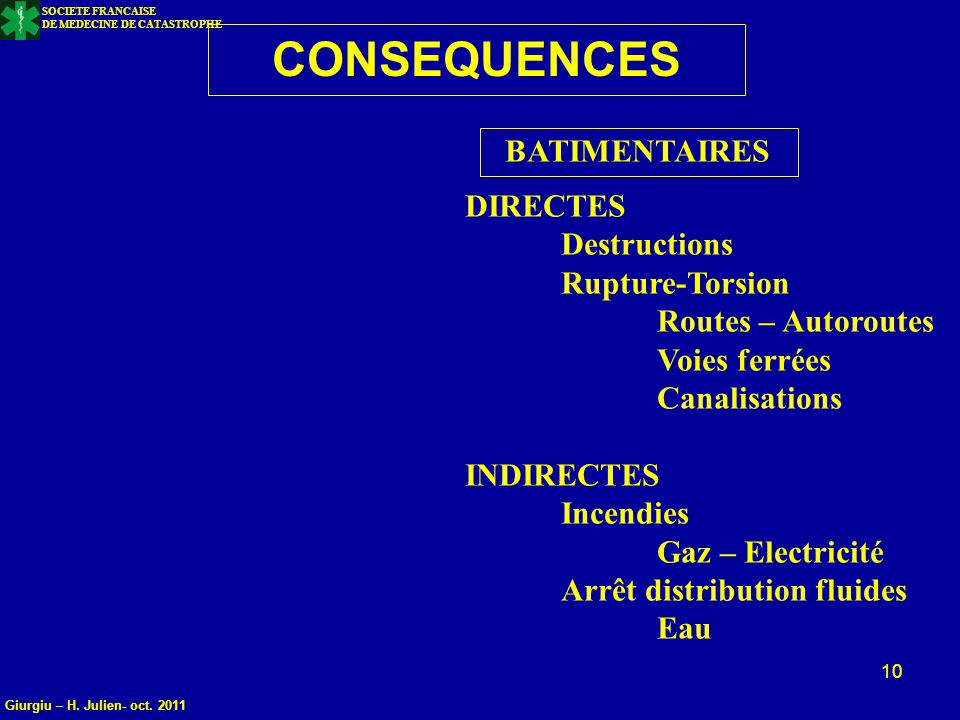 CONSEQUENCES BATIMENTAIRES DIRECTES Destructions Rupture-Torsion