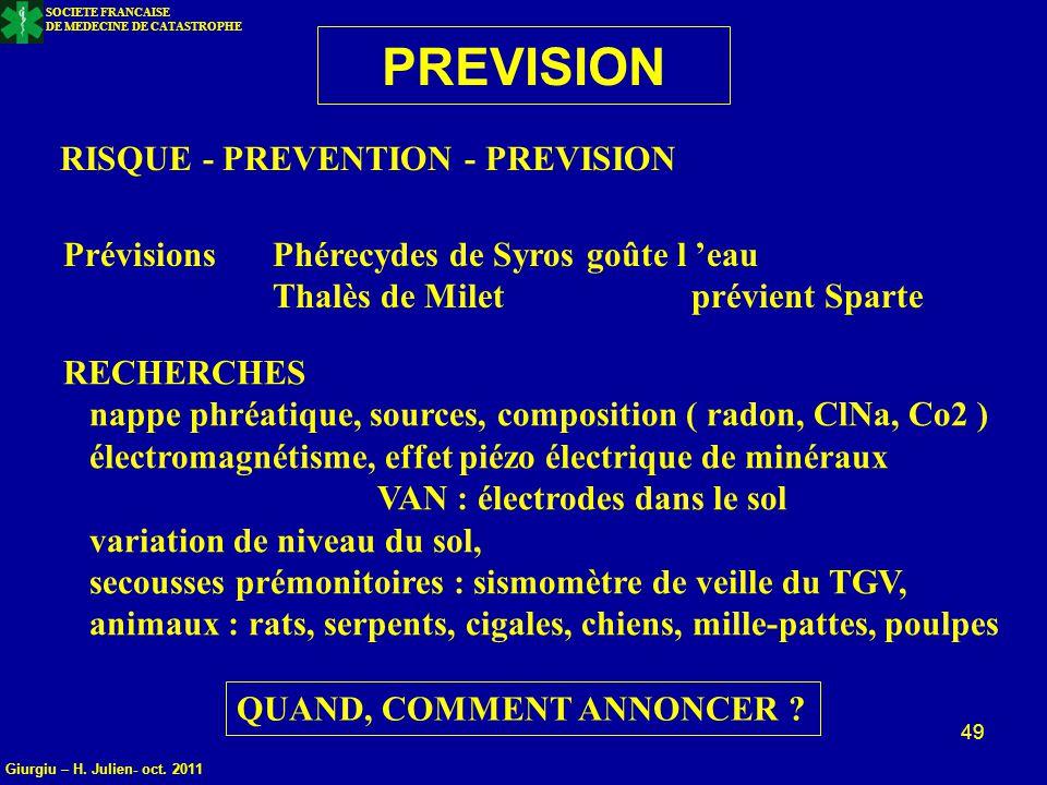 PREVISION RISQUE - PREVENTION - PREVISION