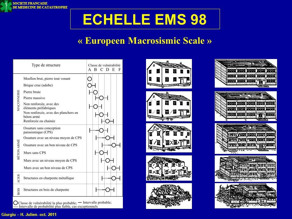 ECHELLE EMS 98 « Europeen Macrosismic Scale »