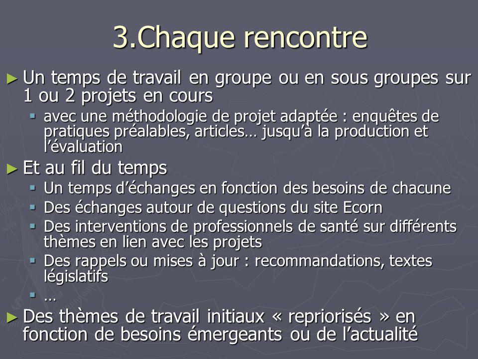3.Chaque rencontre Un temps de travail en groupe ou en sous groupes sur 1 ou 2 projets en cours.