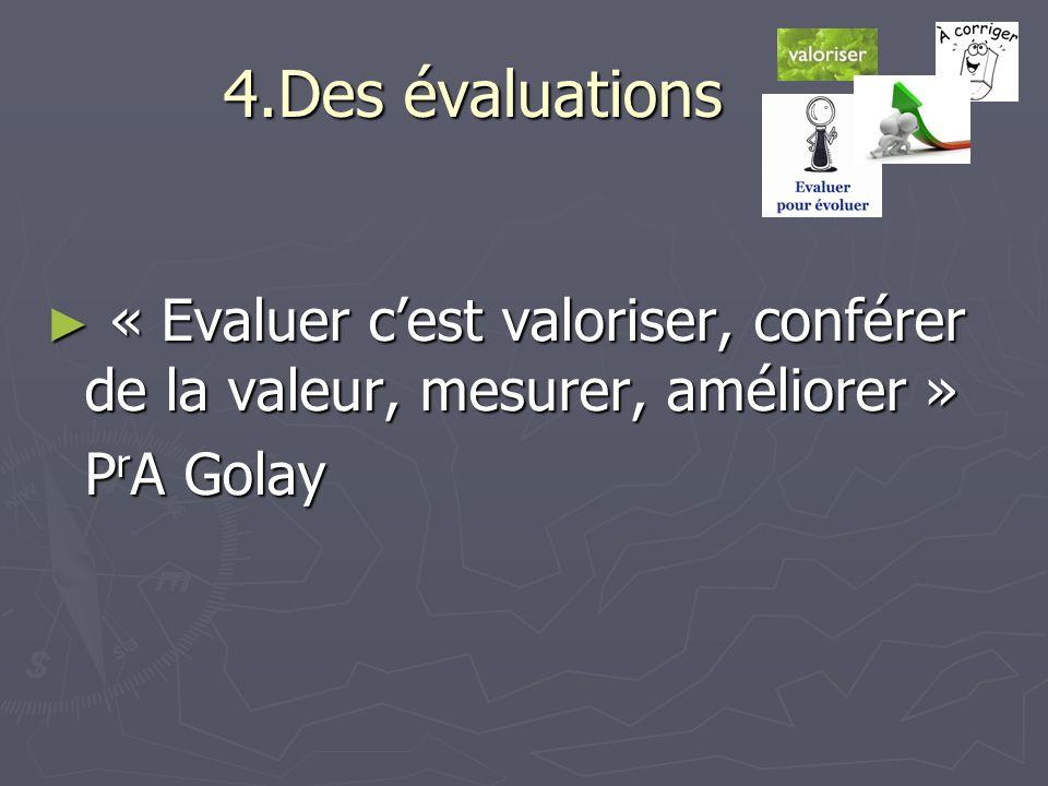 4.Des évaluations « Evaluer c'est valoriser, conférer de la valeur, mesurer, améliorer » PrA Golay