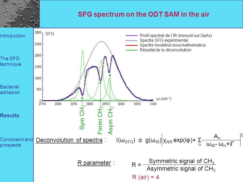 SFG spectrum on the ODT SAM in the air