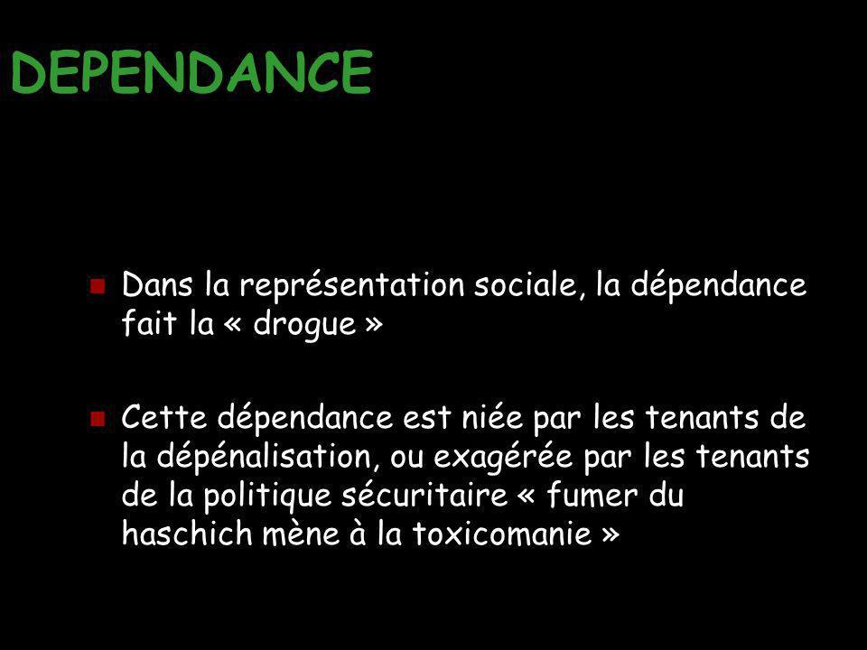 DEPENDANCE Dans la représentation sociale, la dépendance fait la « drogue »