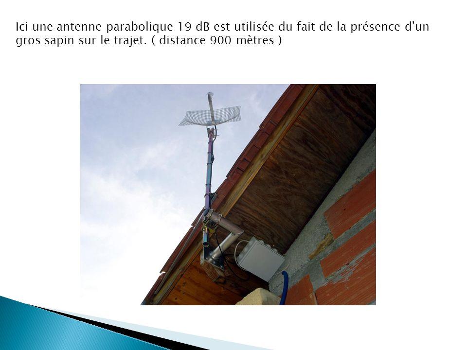 Ici une antenne parabolique 19 dB est utilisée du fait de la présence d un gros sapin sur le trajet.