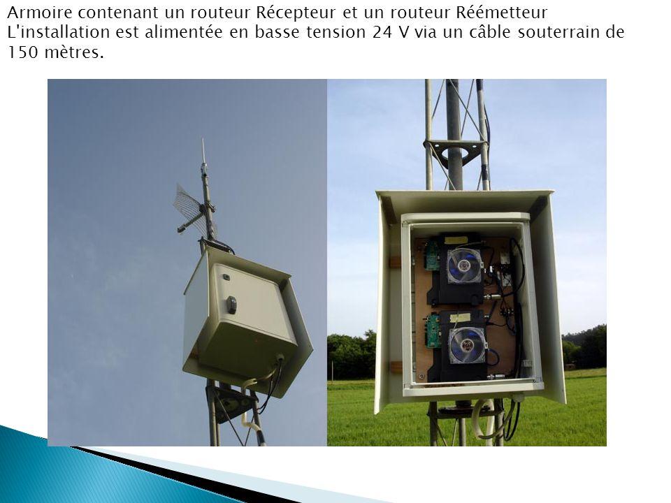 Armoire contenant un routeur Récepteur et un routeur Réémetteur L installation est alimentée en basse tension 24 V via un câble souterrain de 150 mètres.
