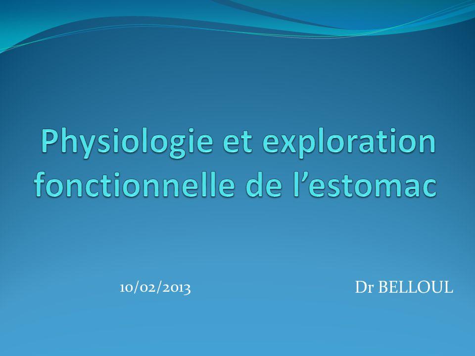 Physiologie et exploration fonctionnelle de l'estomac