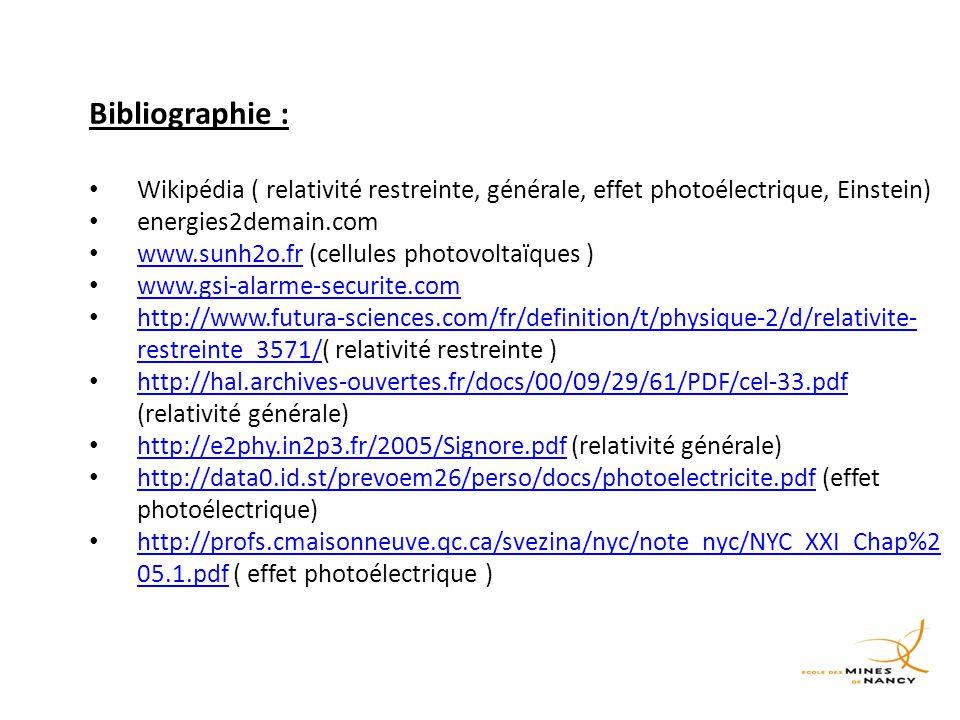Bibliographie : Wikipédia ( relativité restreinte, générale, effet photoélectrique, Einstein) energies2demain.com.