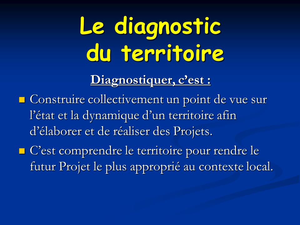 Le diagnostic du territoire