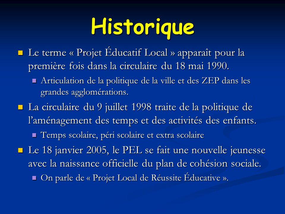 Historique Le terme « Projet Éducatif Local » apparaît pour la première fois dans la circulaire du 18 mai 1990.