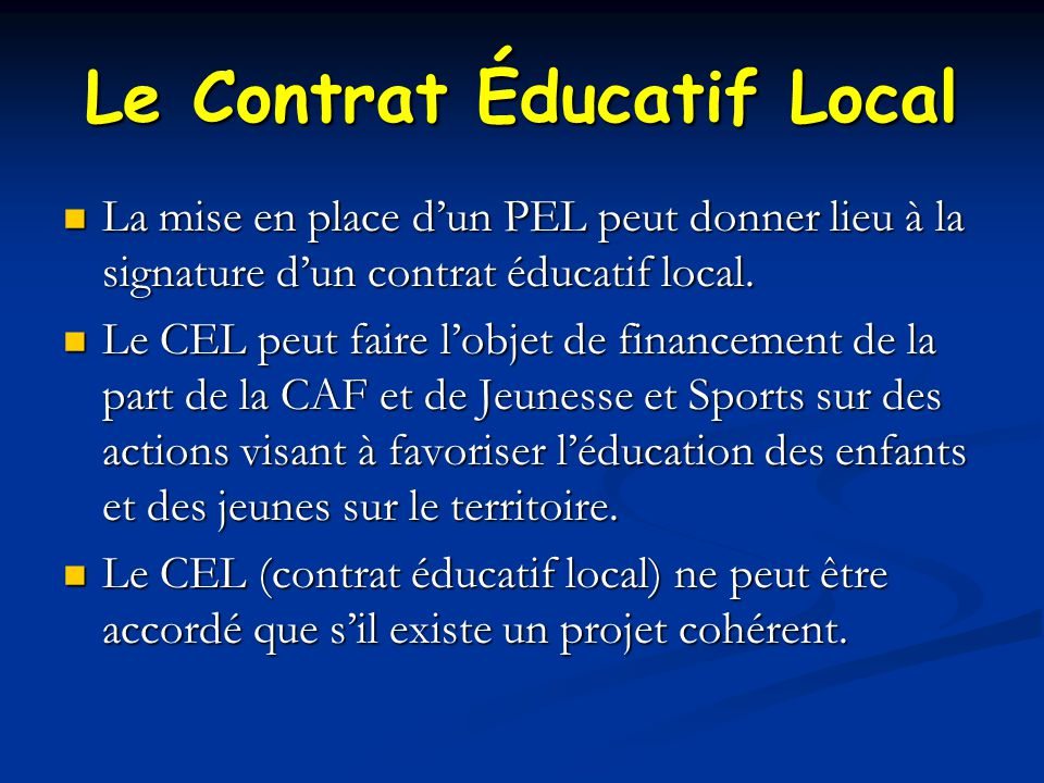 Le Contrat Éducatif Local