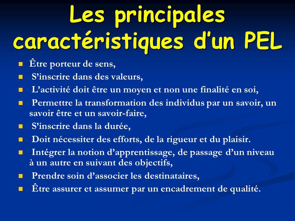 Les principales caractéristiques d'un PEL